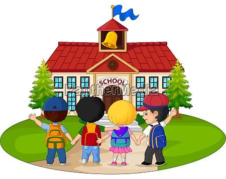 school children going to school