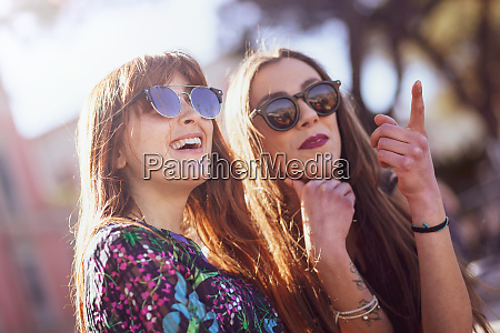 portrait of two friends spending free
