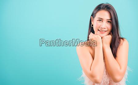 smiling face asian beautiful woman her