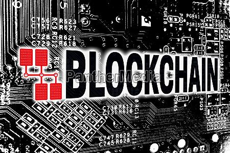 blockchain with circuit board concept