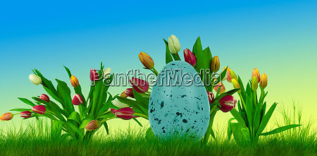 colorful easter egg on grass with