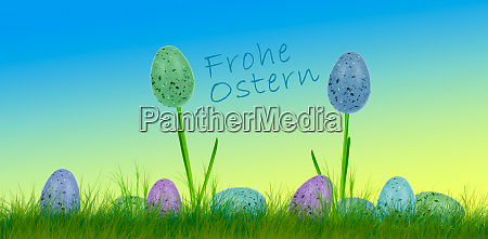 easter eggs and flowers with text