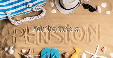 pension written at beach