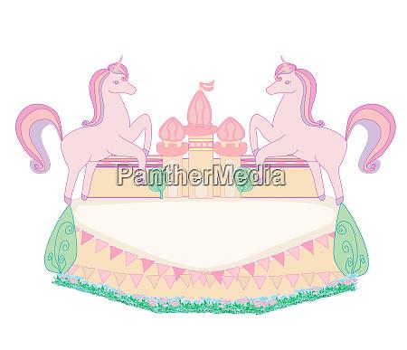 unicorn fairy tale decorative frame with