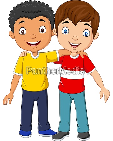 cartoon funny two little boys hugging