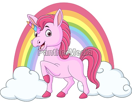 cute baby unicorn with clouds and