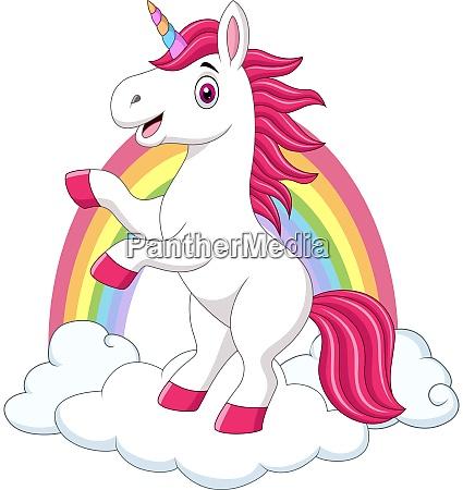cute little pony unicorn on clouds