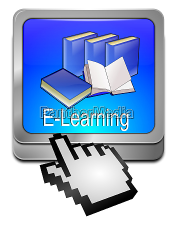 blue e learning button with cursor
