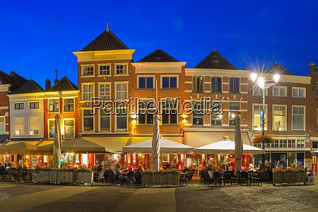 markt square at night in delft