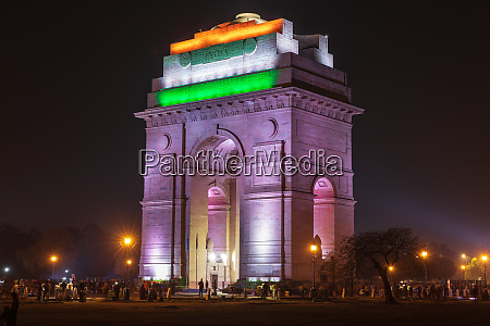 india gate in national flag colors