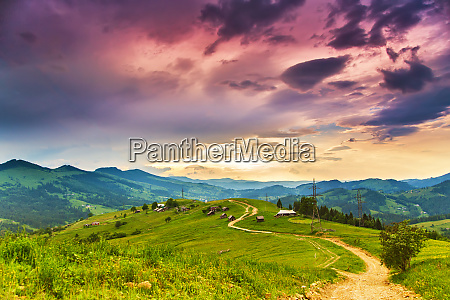 colorful evening in mountain valley beauty