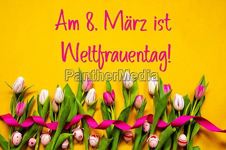 colorful tulip weltfrauentag means women day