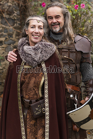 couple in medieval clothing