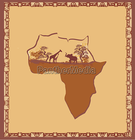 the shape of africa continent fauna