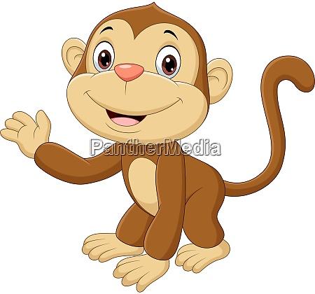 cute baby monkey waving hand