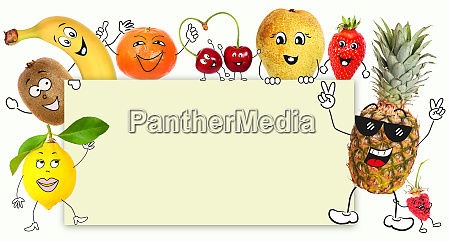 fruits with cartoon character hold a
