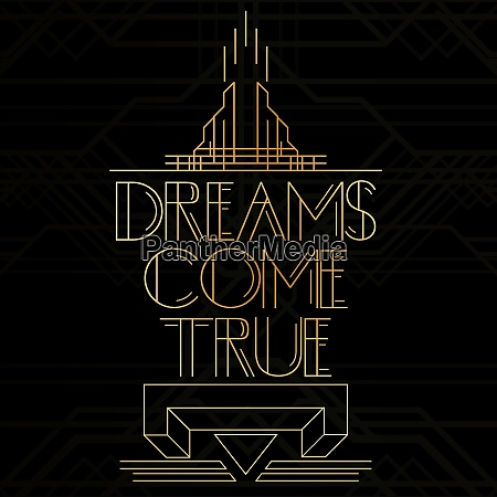 golden decorative dreams come true sign