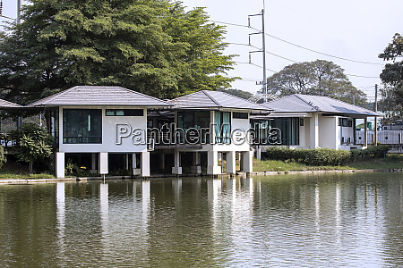 house lake modern architecture outdoors tranquil