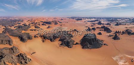 panoramic aerial view of sahara desert