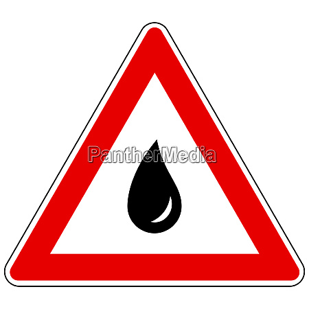 water drop and attention sign