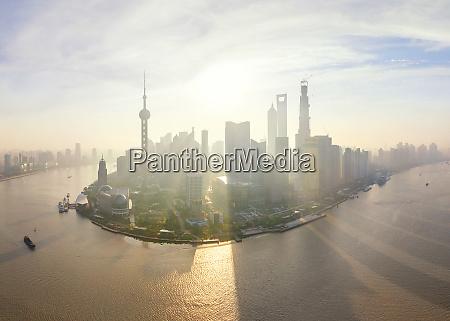 panoramic aerial view of shanghai china