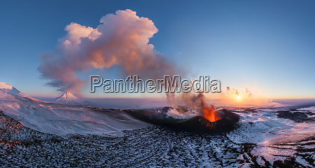 panoramic aerial view of kamchatka russia