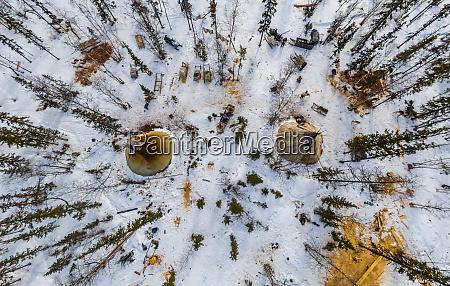 aerial view of yamal peninsula russia