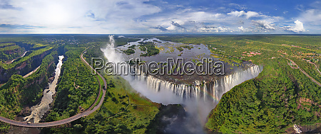 panoramic aerial view of victoria falls