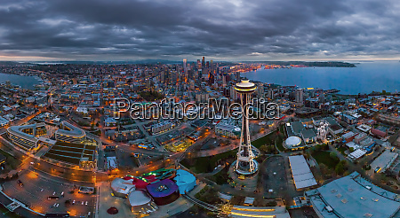 panoramic aerial view of seattle usa