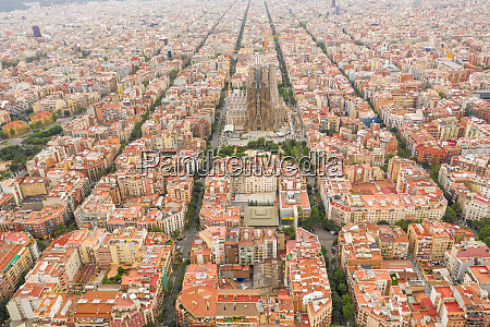 aerial view of sagrada familia barcelona