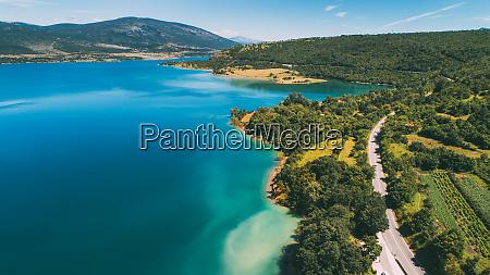 aerial view of peruca lake near