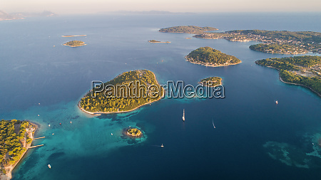 aerial view of island archipelago near