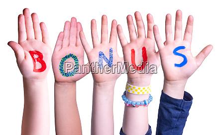 children hands building word bonus isolated