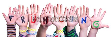 children hands building fruehling means spring