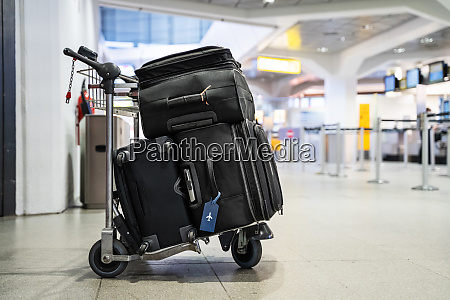 baggage on trolley in airport