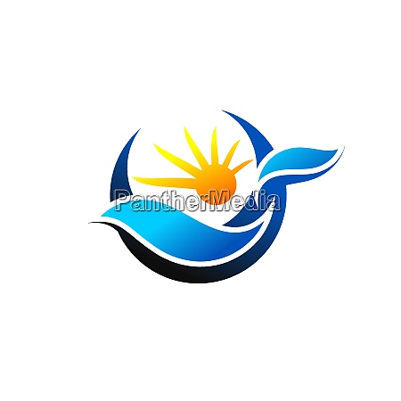 illustration waves and sun logo vector
