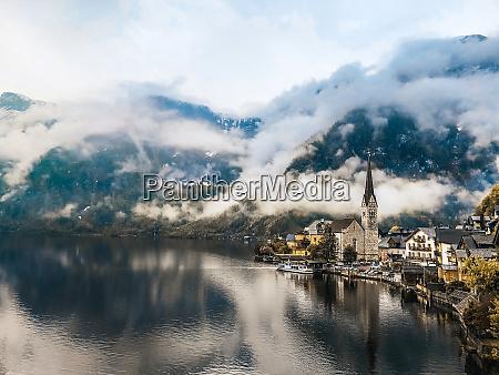foggy scene of hallstatt lake splendid