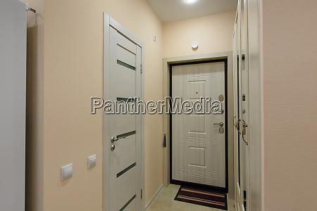 view of the hallway water door