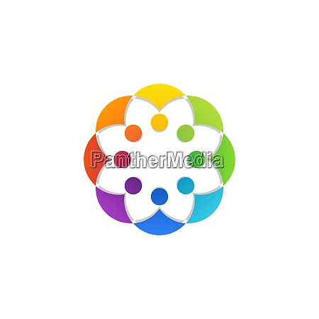 colorful circular teamwork people connection logo