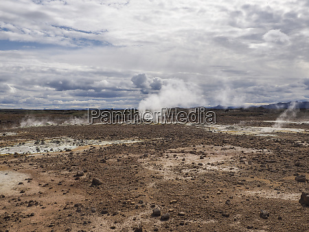 fumaroles in the geothermal area of