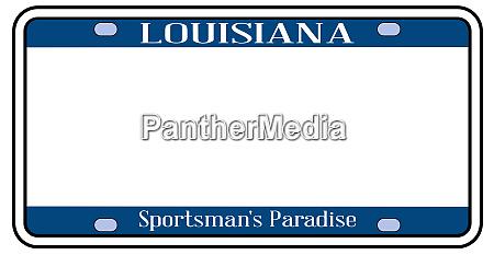blank louisiana state license plate