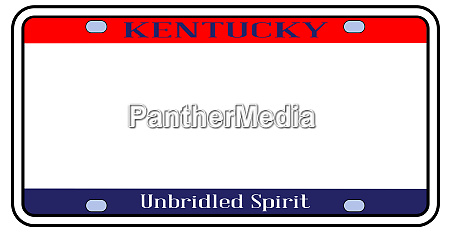 blank kentucky state license plate