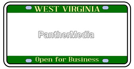 blank west virginia license plate