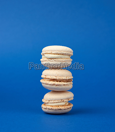 stack of white round baked almond