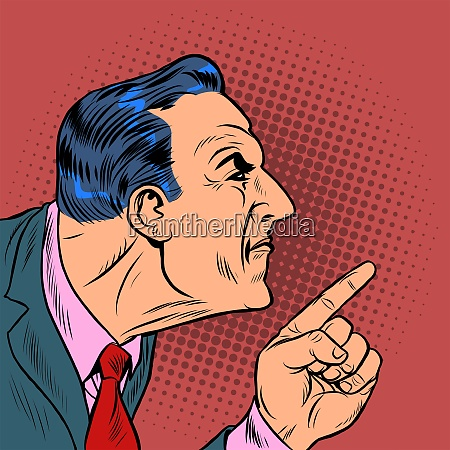 angry man points finger pop art