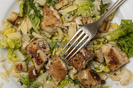 overview of a caesar salad on