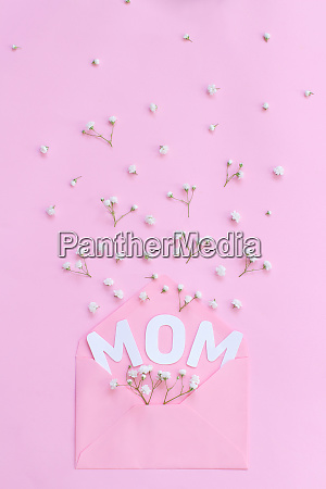 flowers pink envelope and word mom