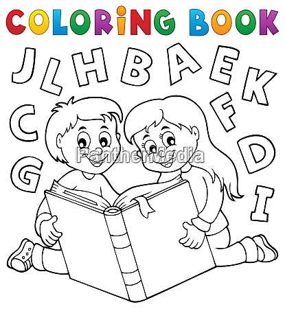coloring book kids and literature theme