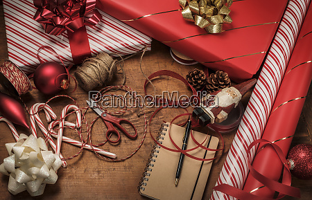 christmas presents with ribbons and string