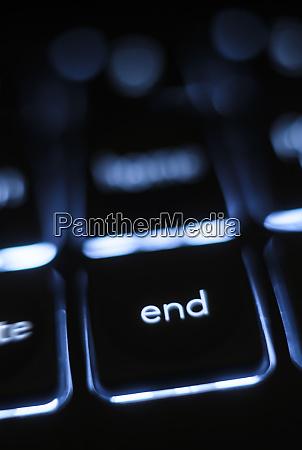 illuminated end key on keyboard
